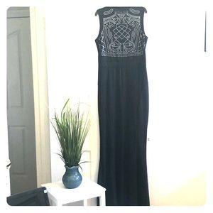 Black studded trumpet formal sleeveless dress